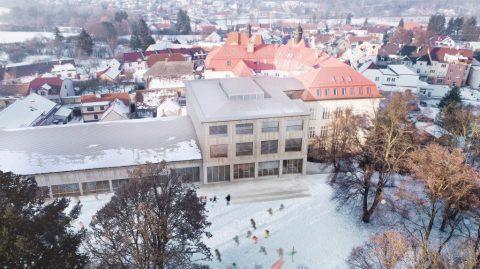 """3.místo v architektonické soutěži: """"ŠKOLA A SPORTOVNÍ HALA VE STARÉM PLZENCI"""""""