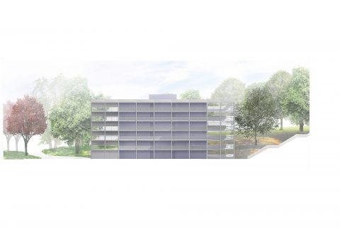 Parkovací dům, lávka a kultivace okolí sídla Libereckého kraje