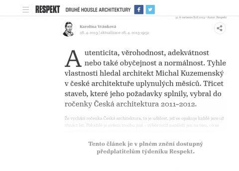 časopis RESPEKT 18/2013, recenze Ročenky české architektury 2011-2012