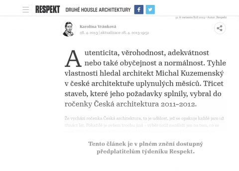 RESPEKT magazine 18/2013, review of the Yearbook of Czech Architecture 2011-2012